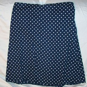 Navy Blue Skirt with White Polka Dots